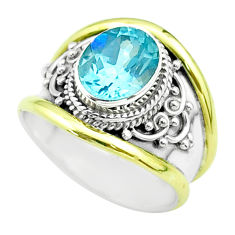 925 silver 3.18cts victorian natural blue topaz two tone ring size 7.5 t57388