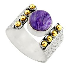 925 silver 3.04cts victorian natural charoite two tone ring size 8.5 r21108