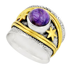 925 silver 3.32cts victorian natural charoite two tone ring size 7.5 r21113