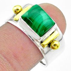 925 silver 3.10cts victorian natural green malachite two tone ring size 9 t57435