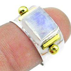 925 silver 3.13cts victorian natural moonstone two tone ring size 7 t57418
