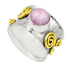 925 silver 3.34cts victorian natural pink kunzite two tone ring size 8.5 r21131