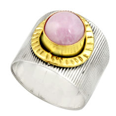 925 silver 3.24cts victorian natural pink kunzite two tone ring size 9 r21127