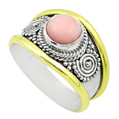 925 silver 2.42cts victorian natural pink opal round two tone ring size 8 t57278