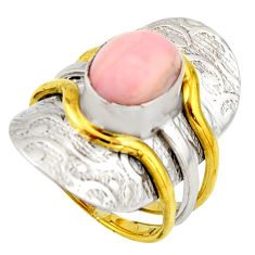 925 silver 4.54cts victorian natural pink opal two tone ring size 6.5 r21075