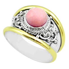 925 silver 2.32cts victorian natural pink opal two tone ring size 6 t57269