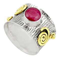 925 silver 2.41cts victorian natural red ruby round two tone ring size 7 r21019