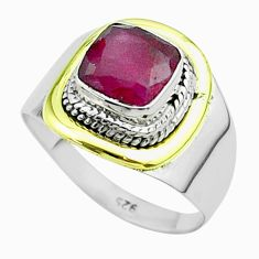 925 silver 2.58cts victorian natural red ruby two tone ring size 7.5 t57374