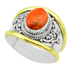 925 silver 3.28cts victorian natural sponge coral two tone ring size 8 t57252