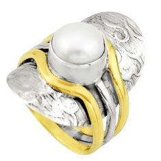 925 silver 5.21cts victorian natural white pearl two tone ring size 7.5 r21007