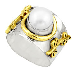 925 silver 3.24cts victorian natural white pearl two tone ring size 7.5 r21017
