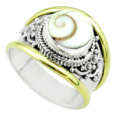 925 silver 4.52cts victorian natural white shiva eye two tone ring size 8 t57324