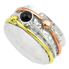 925 silver 0.70cts victorian onyx two tone spinner band ring size 8.5 t51549