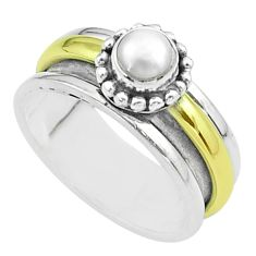 925 silver 0.80cts victorian pearl two tone spinner band ring size 8.5 t51819