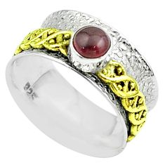 925 silver 0.92cts victorian red garnet two tone spinner band ring size 7 t51792