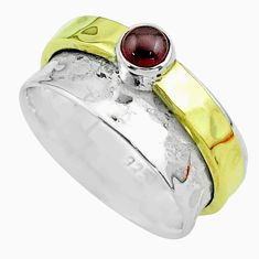 925 silver 0.45cts victorian red garnet two tone spinner band ring size 7 t51835