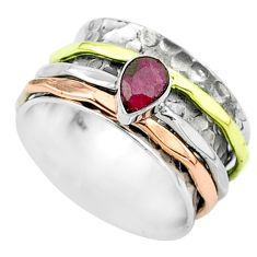 925 silver 1.12cts victorian red ruby two tone spinner band ring size 7 t51640
