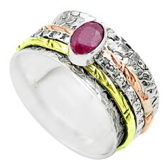 925 silver 1.06cts victorian red ruby two tone spinner band ring size 8 t51660