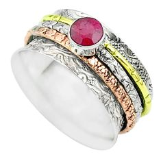 925 silver 1.00cts victorian red ruby two tone spinner band ring size 9 t51695