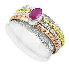 925 silver 1.13cts victorian red ruby two tone spinner band ring size 8.5 t51505