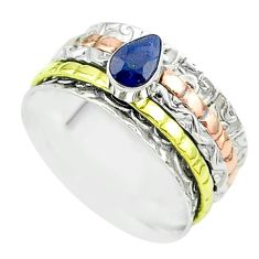 925 silver 1.01cts victorian sapphire two tone spinner band ring size 8 t51886