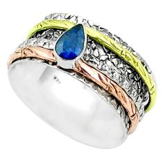 925 silver 1.02cts victorian sapphire two tone spinner band ring size 9 t51653