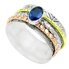 925 silver 1.02cts victorian sapphire two tone spinner band ring size 9 t51686