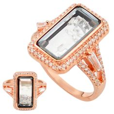 925 silver white cubic zirconia 14k rose gold moving stone ring size 8.5 c22033