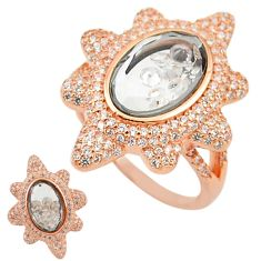925 silver white cubic zirconia 14k rose gold moving stone ring size 8 c22039