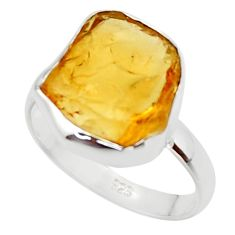 925 silver 7.24cts yellow citrine rough solitaire ring jewelry size 8.5 r48948