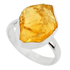 925 silver 7.60cts yellow citrine rough solitaire ring jewelry size 6 r48944