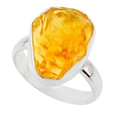 925 silver 7.97cts yellow citrine rough solitaire ring jewelry size 6 r48952