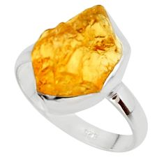 925 silver 7.60cts yellow citrine rough solitaire ring jewelry size 9 r48953