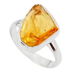 925 silver 8.31cts yellow citrine rough solitaire ring jewelry size 9 r48956