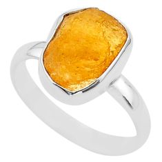 925 silver 5.75cts yellow natural tourmaline raw handmade ring size 9 t33537