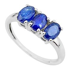 925 sterling silver 2.73cts 3 stone natural blue sapphire ring size 7 t18276