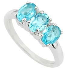 925 sterling silver 2.73cts 3 stone natural blue topaz oval ring size 7 t40905