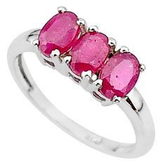 925 sterling silver 2.96cts 3 stone natural red ruby oval ring size 7 t18256