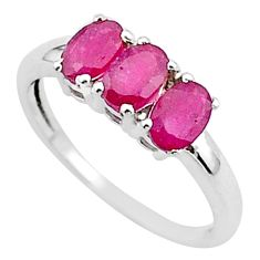 925 sterling silver 3.43cts 3 stone natural red ruby oval ring size 8 t40863