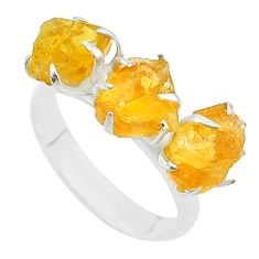 925 sterling silver 7.61cts 3 stone yellow citrine raw ring size 7 t52290