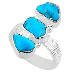 925 sterling silver 11.15cts 8 blue sleeping beauty turquoise ring size 7 r65611