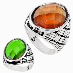 Green alexandrite (lab) 925 sterling silver mens ring jewelry size 10.5 c11185