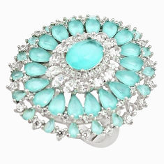 925 sterling silver 11.69cts aqua chalcedony topaz ring jewelry size 6.5 c19154
