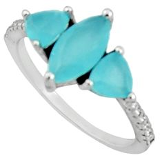925 sterling silver 2.98cts aqua chalcedony topaz ring size 7 c9416
