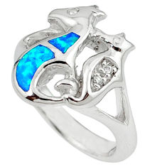 925 sterling silver blue australian opal (lab) seahorse ring size 6.5 c15796