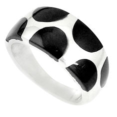 925 sterling silver 4.87gms black onyx enamel ring jewelry size 5.5 c12931