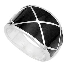 925 sterling silver 5.48gms black onyx enamel ring jewelry size 7 a95615 c13302