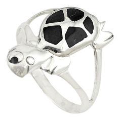 925 sterling silver black onyx enamel tortoise ring jewelry size 7 c21674