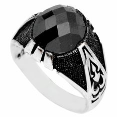 5.63cts black onyx topaz 925 sterling silver mens ring jewelry size 10.5 c11559