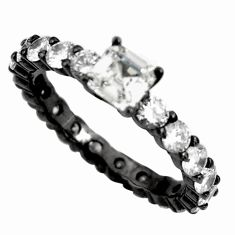 925 sterling silver 3.90cts black rhodium white topaz ring size 8 c9011